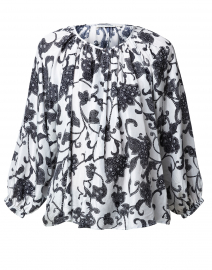 Anette Twilight Floral Printed Silk Top
