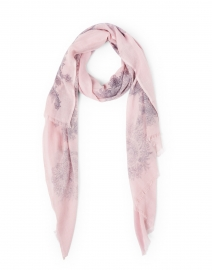 Pink and Grey Paisley Printed Silk Cashmere Scarf
