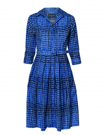 Audrey Cobalt Blue Check Cotton Shirt Dress