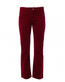 Wine Red Stretch Cotton Corduroy Bootcut Pant