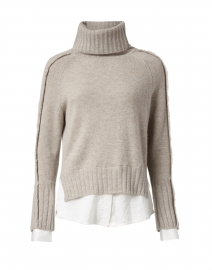 Jolie Light Beige Wool Cashmere Layered Turtleneck