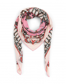 Pink Crown and Tassel Printed Silk Cashmere Scarf