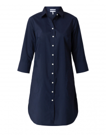 Kathleen Navy Luxe Stretch Cotton Shirt Dress