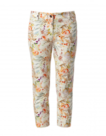 Multicolor Garden Floral Printed Stretch Denim Jean