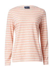 Minquidame Ecru and Coral Striped Cotton Top