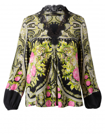 Lorine Black Printed Silk Blouse