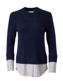 Eton Navy Wool Cashmere Sweater with Blue Stripe Underlayer