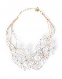 Pearl Cluster and Leather Necklace