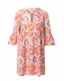 Kerry Coral Mosaic Tile Printed Dress