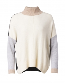 High Ambition Ivory Colorblocked Turtleneck Sweater