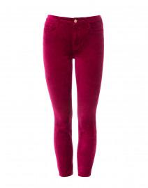 Fuchsia Stretch Velvet Skinny Ankle Pant