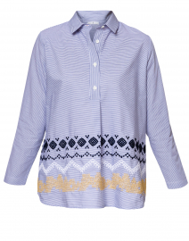 Blue and White Striped Embroidered Henley Top