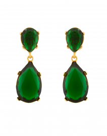 Emerald Crystal Drop Clip On Earrings