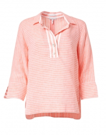 Aileen Persimmon and White Stripe Button Back Linen Shirt