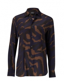 Navy, Brown and Black Camo SIlk Blouse
