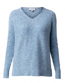 Mirage Blue Cotton Garter Stitch Sweater