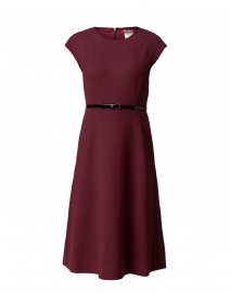 Rosanna Bordeaux Belted Stretch Wool Dress