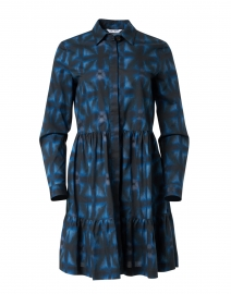 Blue and Black Printed Stretch Cotton Dress