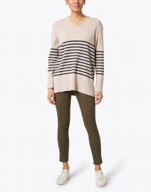 Saint James - Pontivy Natural and Navy Striped Cashmere Sweater