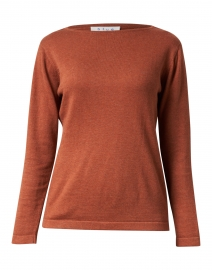 Blue - Toasted Orange Pima Cotton Boatneck Sweater