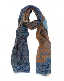 Parasol Blue and Orange Spiral Printed Scarf