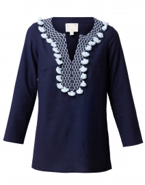 Navy Tunic Top with Light Blue Tassels