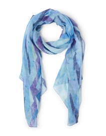 Turquoise and Purple Kaleidoscope Print Modal and Linen Scarf