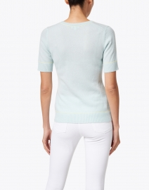 Kinross - Light Blue with Lime Piping Cashmere Top