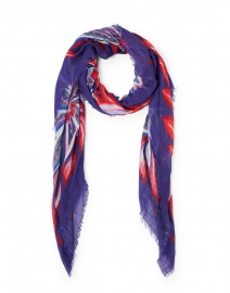 Purple and Red Abstract Floral Printed Scarf