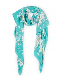 Turquoise Lily Printed Silk Scarf