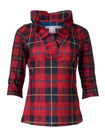 Plaidly Red Plaid Ruffle Neck Top