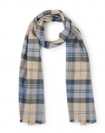 Light Blue and Beige Tartan Extra Fine Wool Scarf