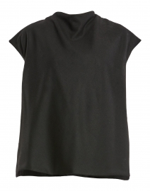 Bella Black Woven Stretch Wool Top