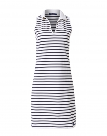 Nimes White and Navy Jersey Polo Dress