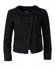 Navy Lurex Tweed Asymmetrical Jacket