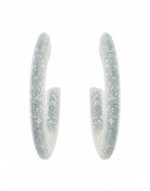 Gia Silver Glitter Resin Hoop Earrings