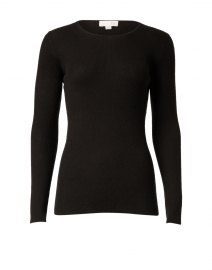 Black Silk Cashmere Rib Sweater