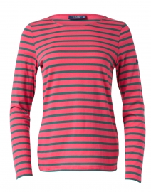 Minquidame Forest Green and Pink Striped Cotton Top