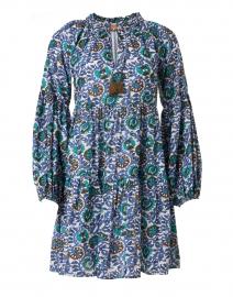 Napa Blue and Gold Lurex Print Dress