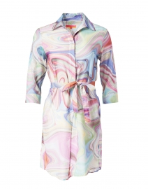 Adriana Multi Marble Print Cotton Shirt Dress