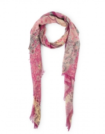 Pink and Beige Paisley Silk Cashmere Scarf
