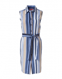 Mariya Blue, Navy and Beige Stripe Shirt Dress
