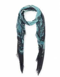 Light Blue and Navy Paisley Silk Cashmere Scarf