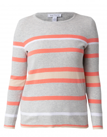 Grey and Living Coral Striped Cotton Sweater