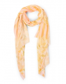 Pink and Melon Floral Stripe Modal and Silk Scarf