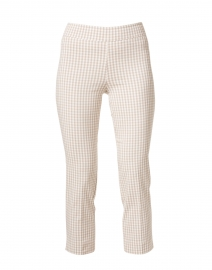 Brigitte Beige Check Cropped Pull-On Pant