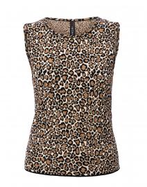 Beige Leopard Printed Knit Top