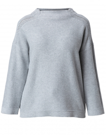 Grey Textured Cotton Sweater
