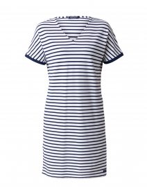 Carpentras White and Navy Striped Jersey Dress
