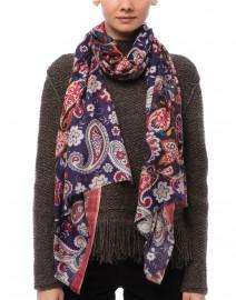 Bindya - Purple Paisley Printed Cashmere Silk Scarf